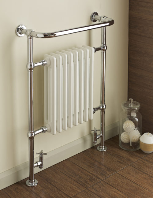 DUNBAR CHROME/WHITE COLUMN RADIATOR & TOWEL WARMER