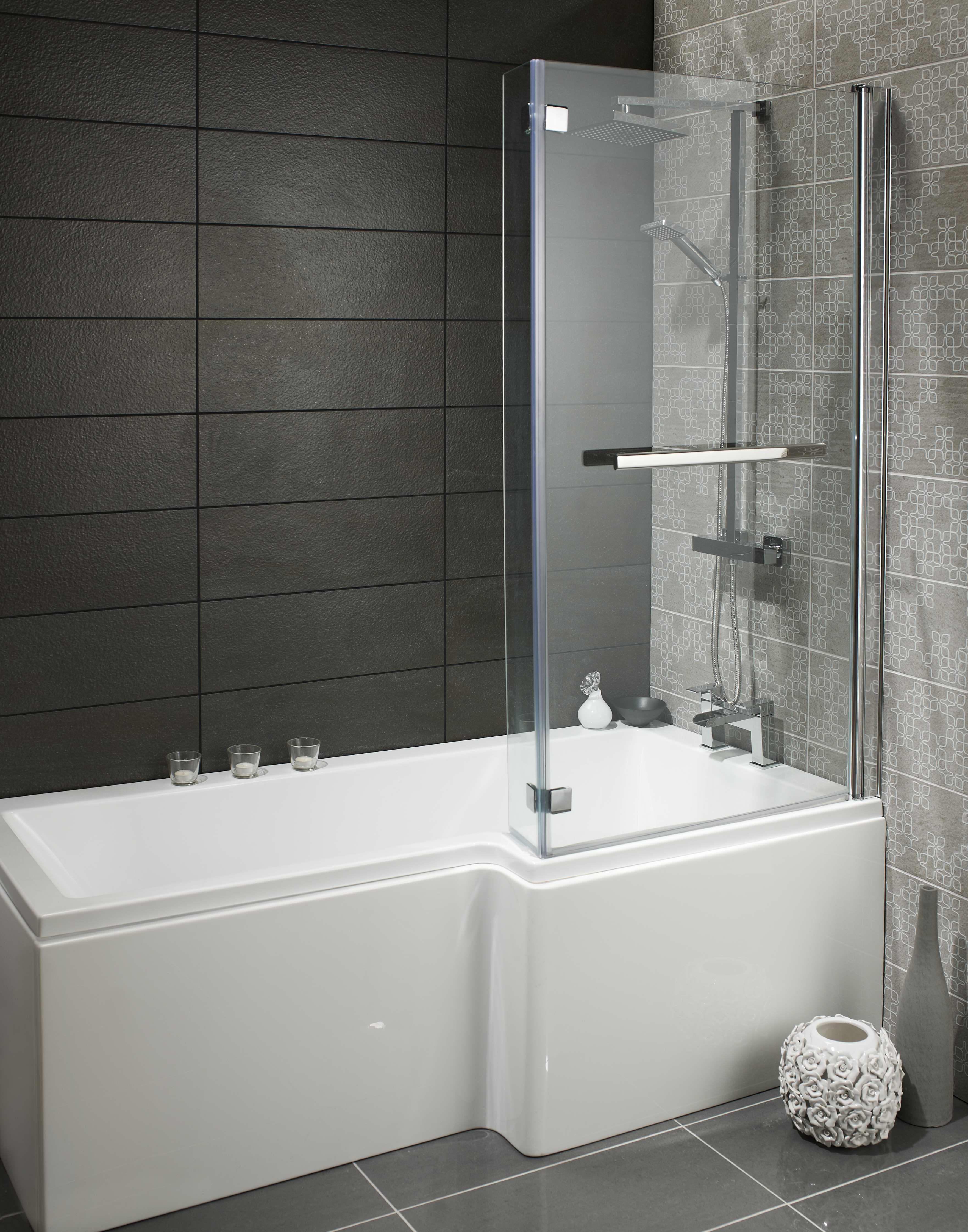 Skye square l shaped bath package with shower screen for Square baths