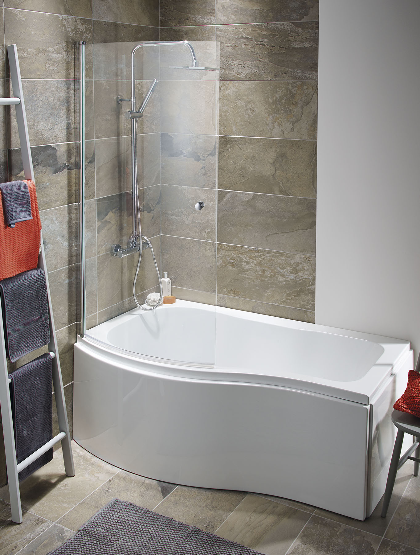 ELGIN 1500 P SHAPED BATH PACKAGE SHOWER SCREEN AND PANELS LEFT OR ...