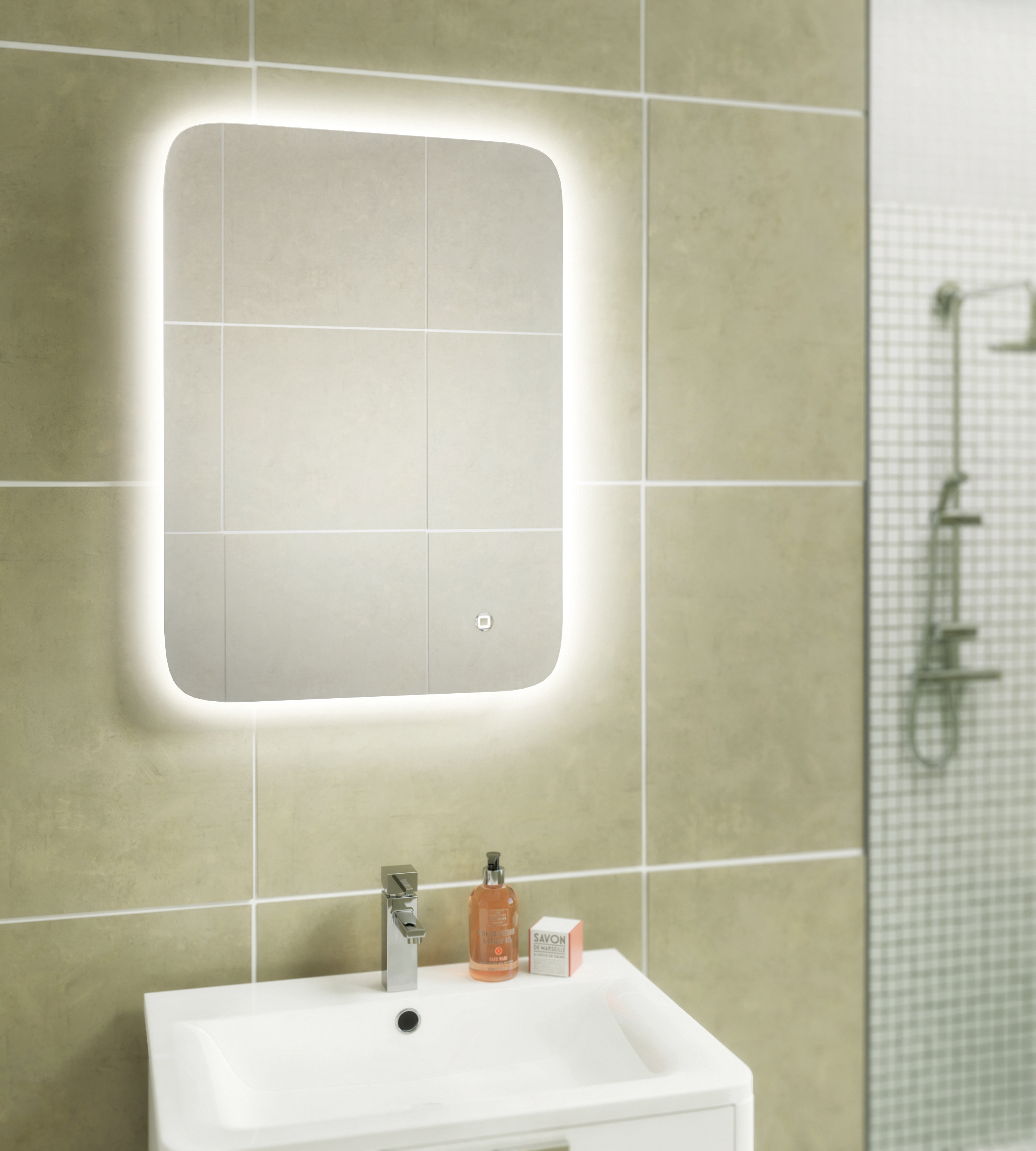 Ambient 60 x 80 led mirror bath giant for Mirror 80 x 60